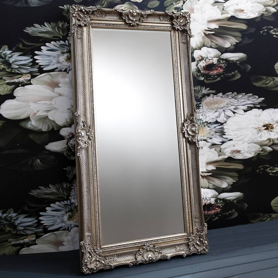 Ornate Antique Silver Leaner Mirrorprimrose & Plum pertaining to Silver Ornate Framed Mirrors (Image 14 of 25)