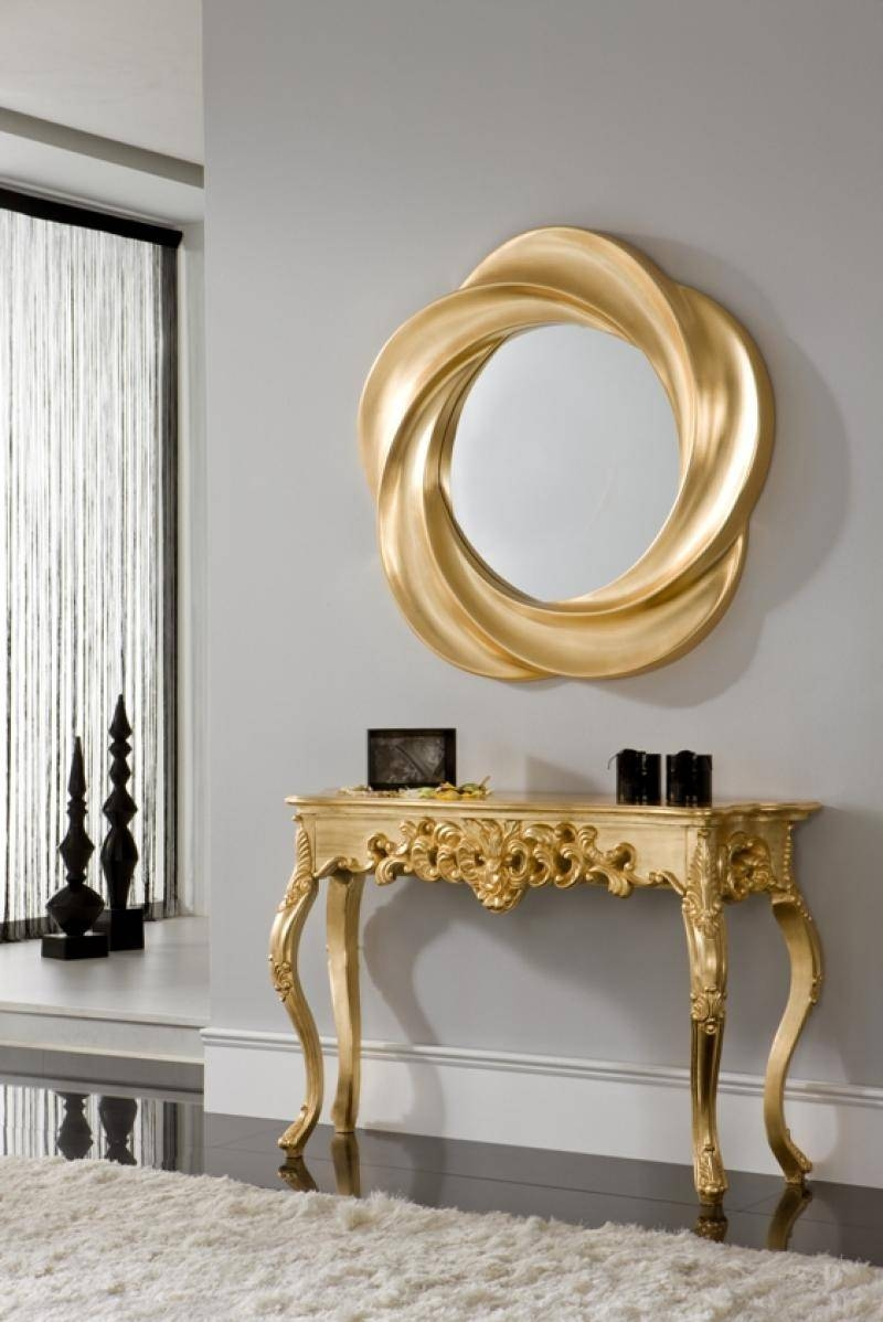Ornate Console Table With An Optional Mirror In Silver Or Gold within Gold Table Mirrors (Image 20 of 25)