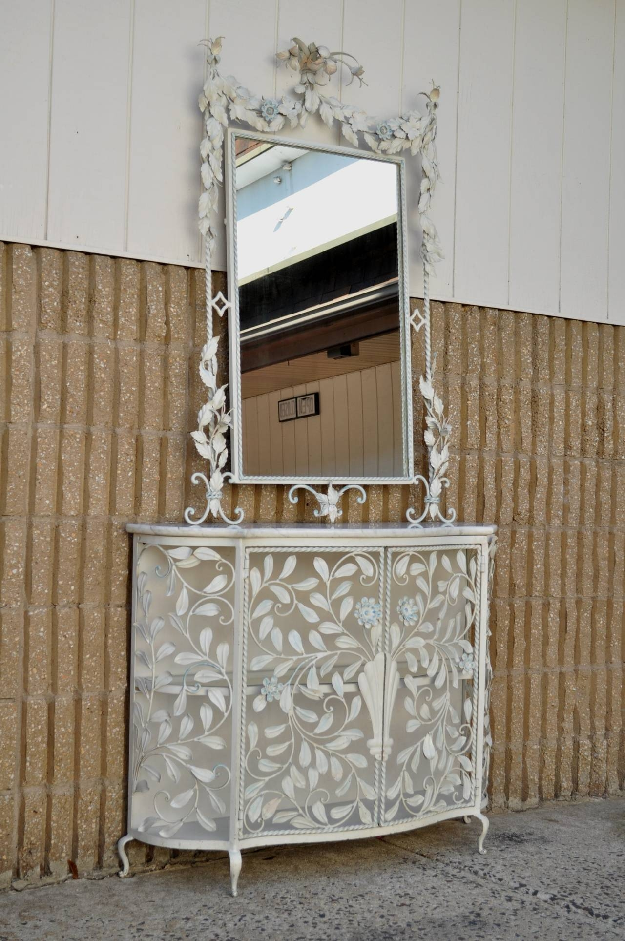Ornate French Floral Wrought Iron Mirror And Marble Top Console within Wrought Iron Full Length Mirrors (Image 18 of 25)