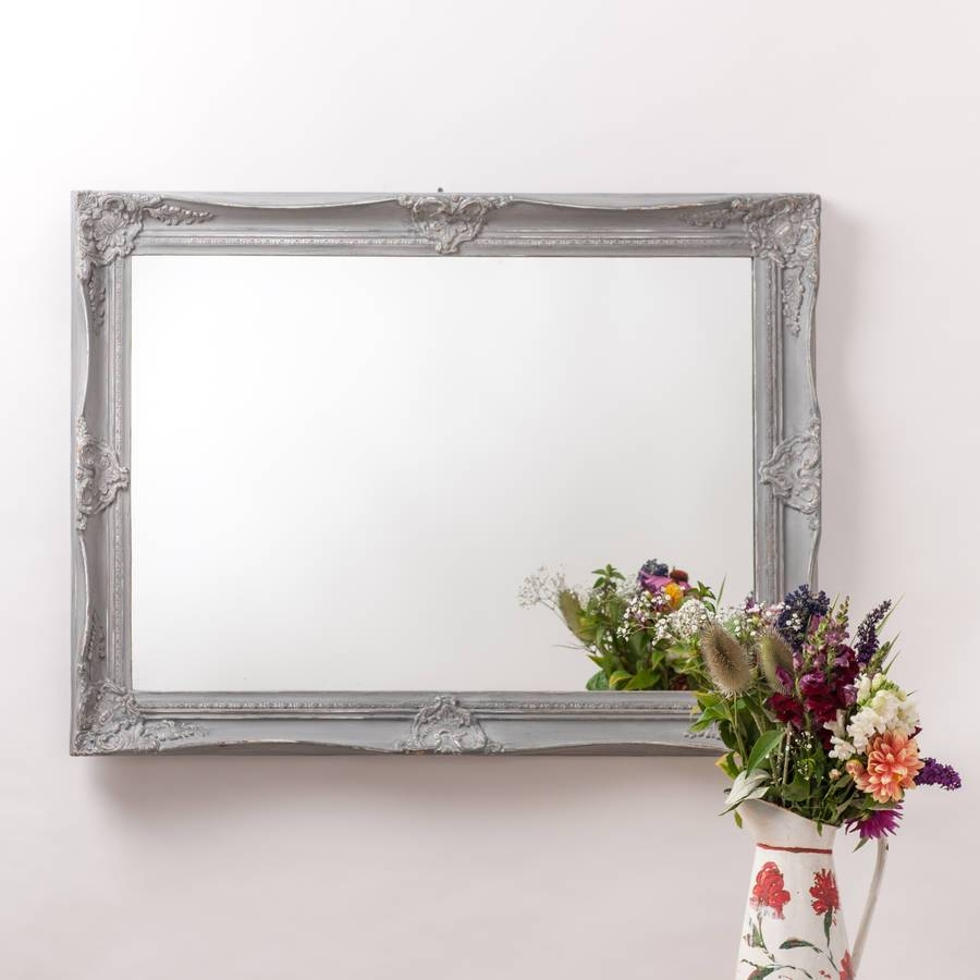 Ornate French Style White Distressed Mirrorhand Crafted throughout Large French Style Mirrors (Image 22 of 25)