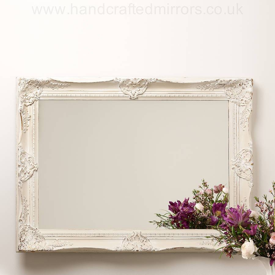 Ornate Hand Painted French Mirrorhand Crafted Mirrors with White Ornate Mirrors (Image 13 of 25)