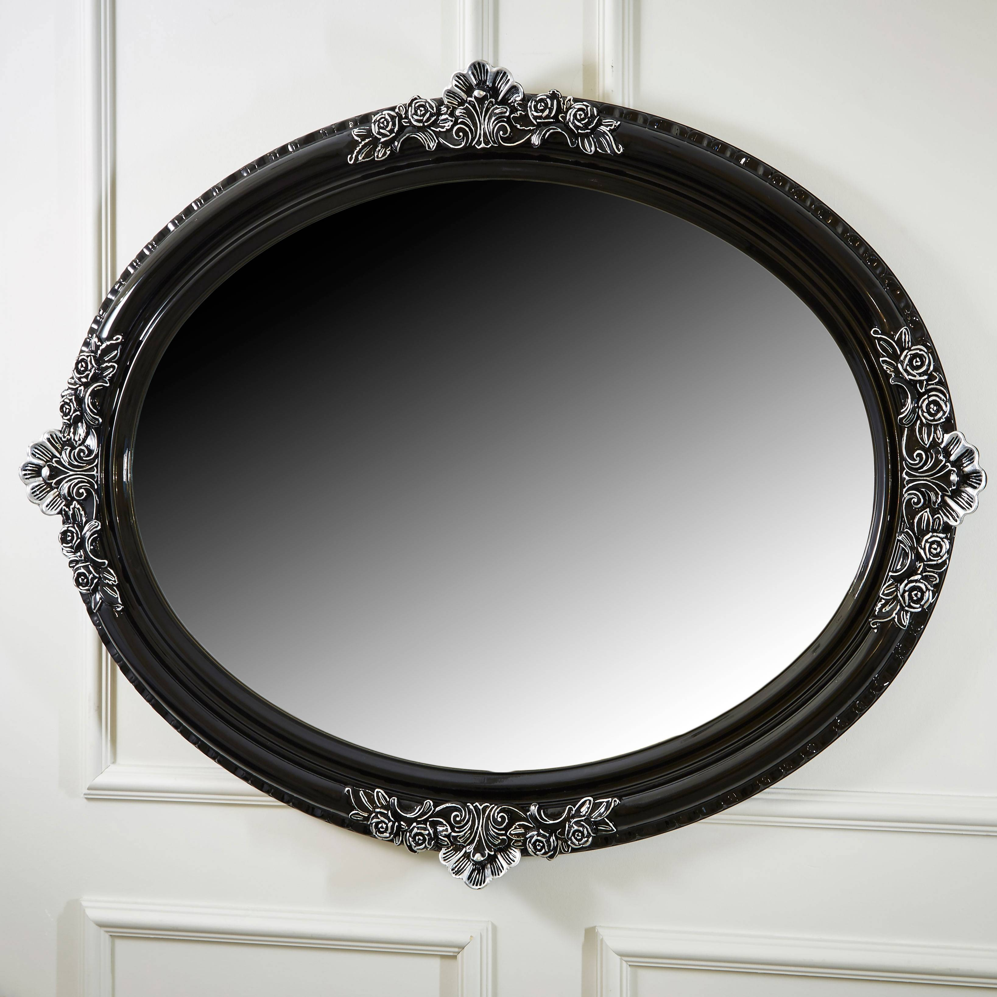 Ornate High Gloss Black Oval Mirror | Juliettes Interiors intended for Ornate Oval Mirrors (Image 14 of 25)