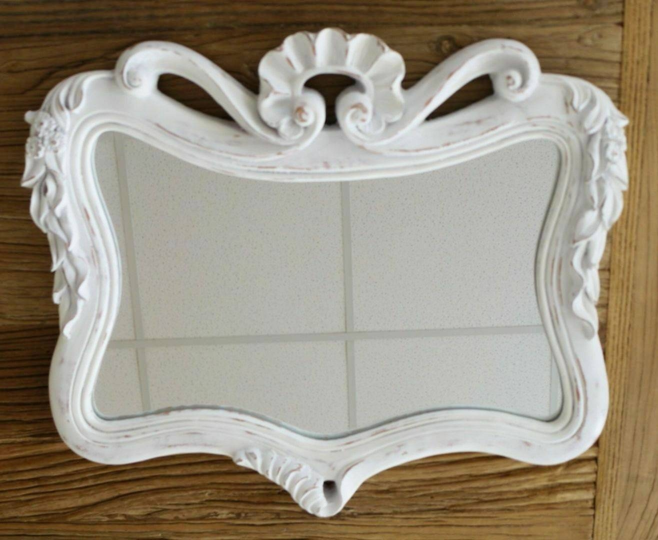 Ornate Shabby Chic Wavy Frame Mirror, White, Small - 40X35Cm in Small Ornate Mirrors (Image 17 of 25)