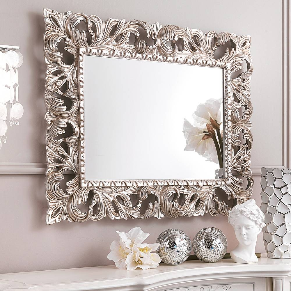 Ornate Silver Bathroom Mirror. Carved Ornate Framed Silver Wall for Champagne Wall Mirrors (Image 19 of 25)