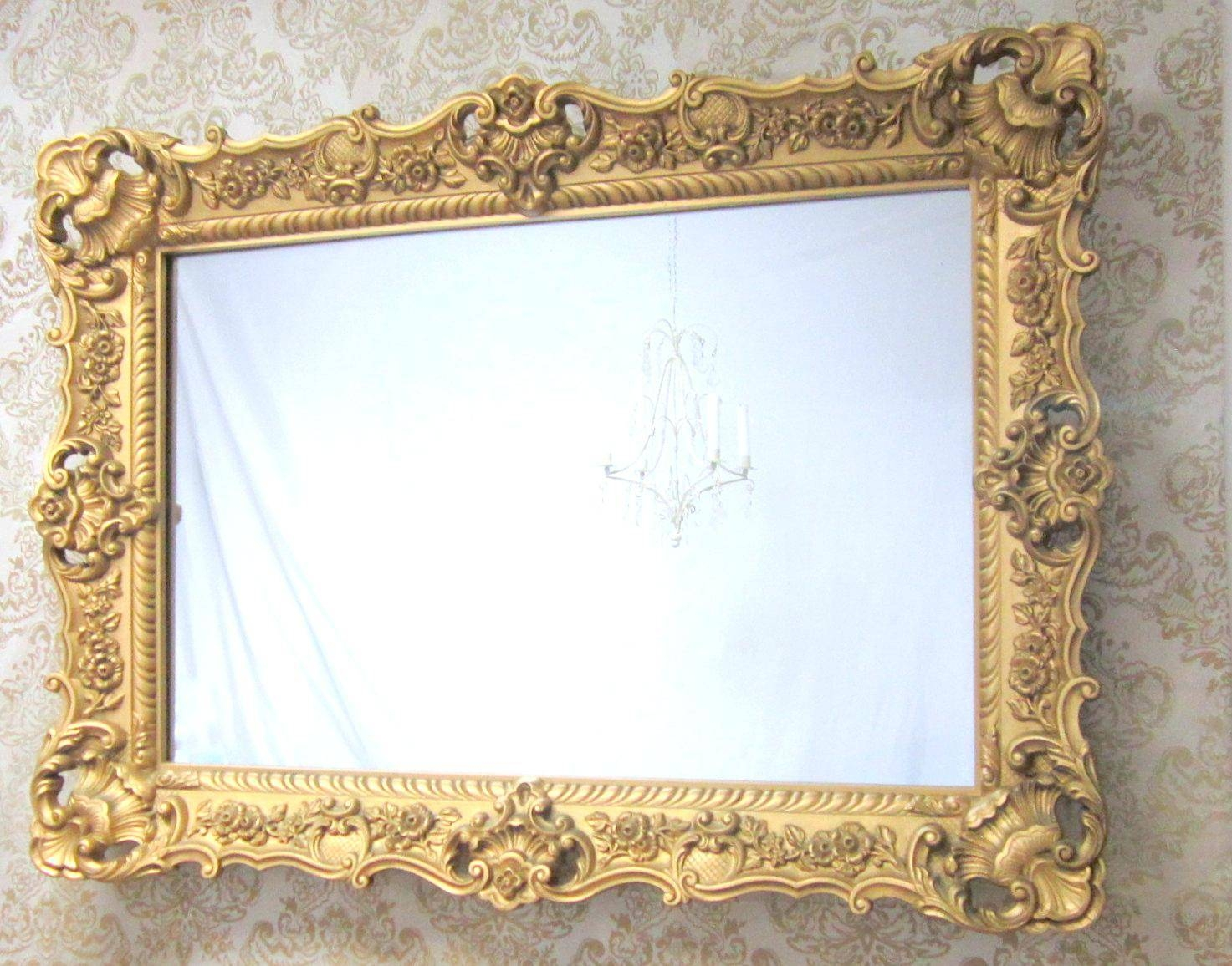 Ornate Swept Frame Silver Mirror 118X87Cmornate Gold Floor Large In Large Ornate Mirrors (View 21 of 25)