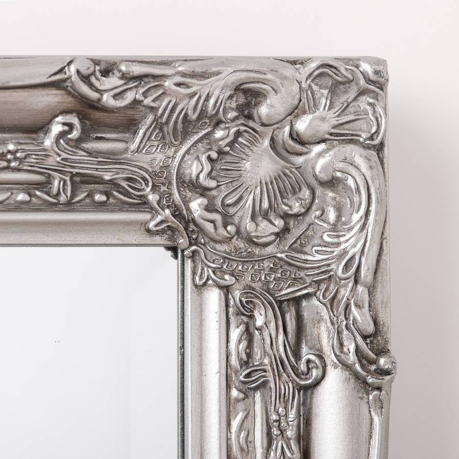 Ornate Vintage Silver Pewter Mirror Full Lengthhand Crafted pertaining to Silver Antique Mirrors (Image 16 of 25)