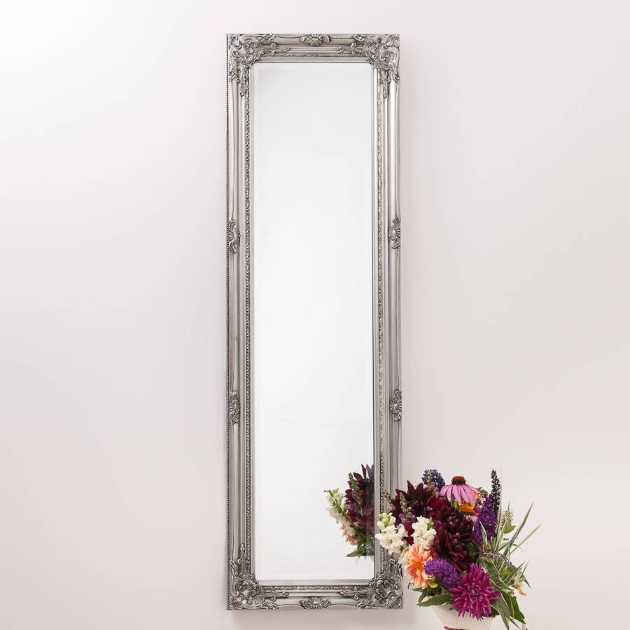 Ornate Vintage Silver Pewter Mirror Full Lengthhand Crafted pertaining to Silver Ornate Framed Mirrors (Image 20 of 25)