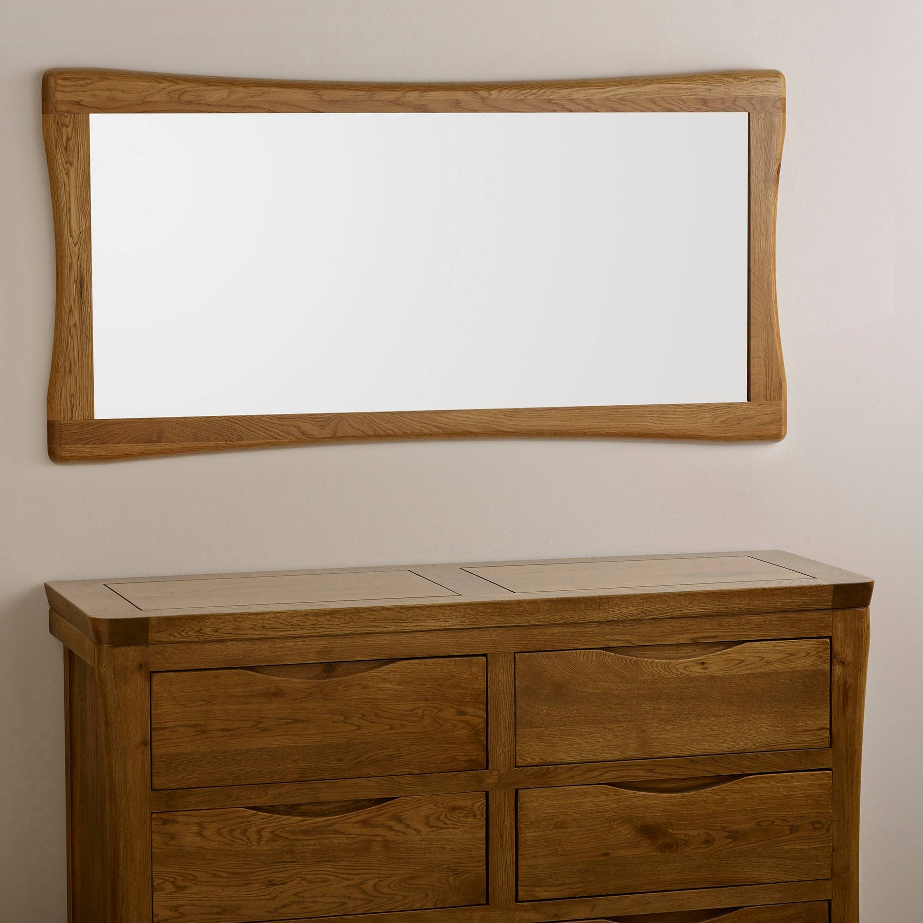 Orrick Wall Mirror In Natural Solid Oak | Oak Furniture Land pertaining to Rustic Oak Mirrors (Image 17 of 25)