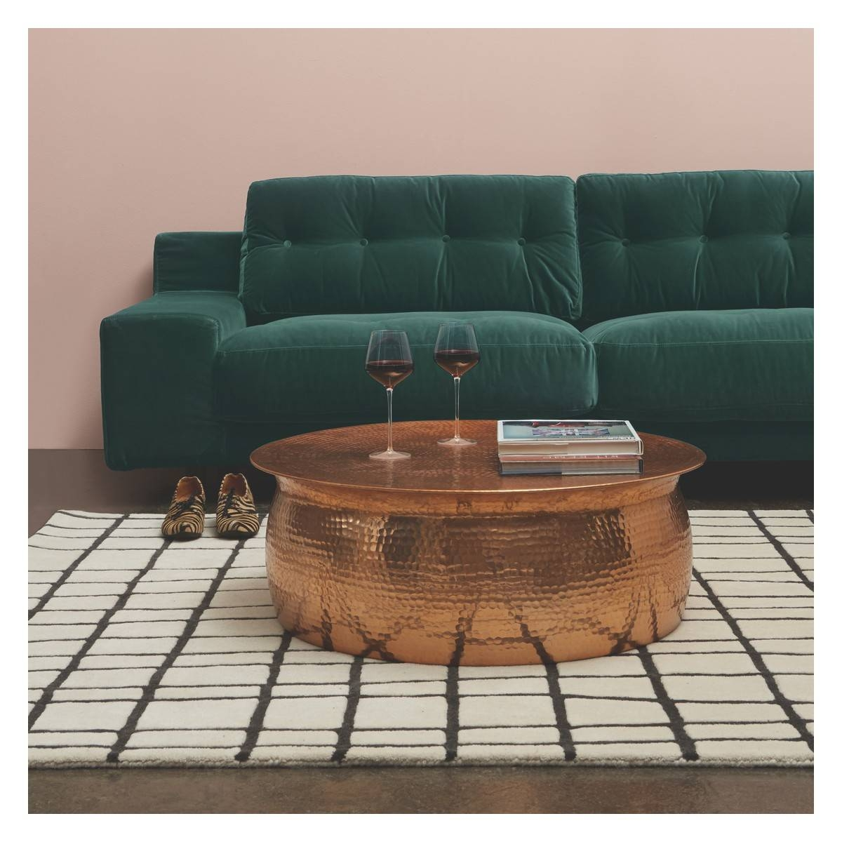 Orrico Rose Gold Hammered Aluminium Coffee Table | Buy Now At with Aluminium Coffee Tables (Image 25 of 30)