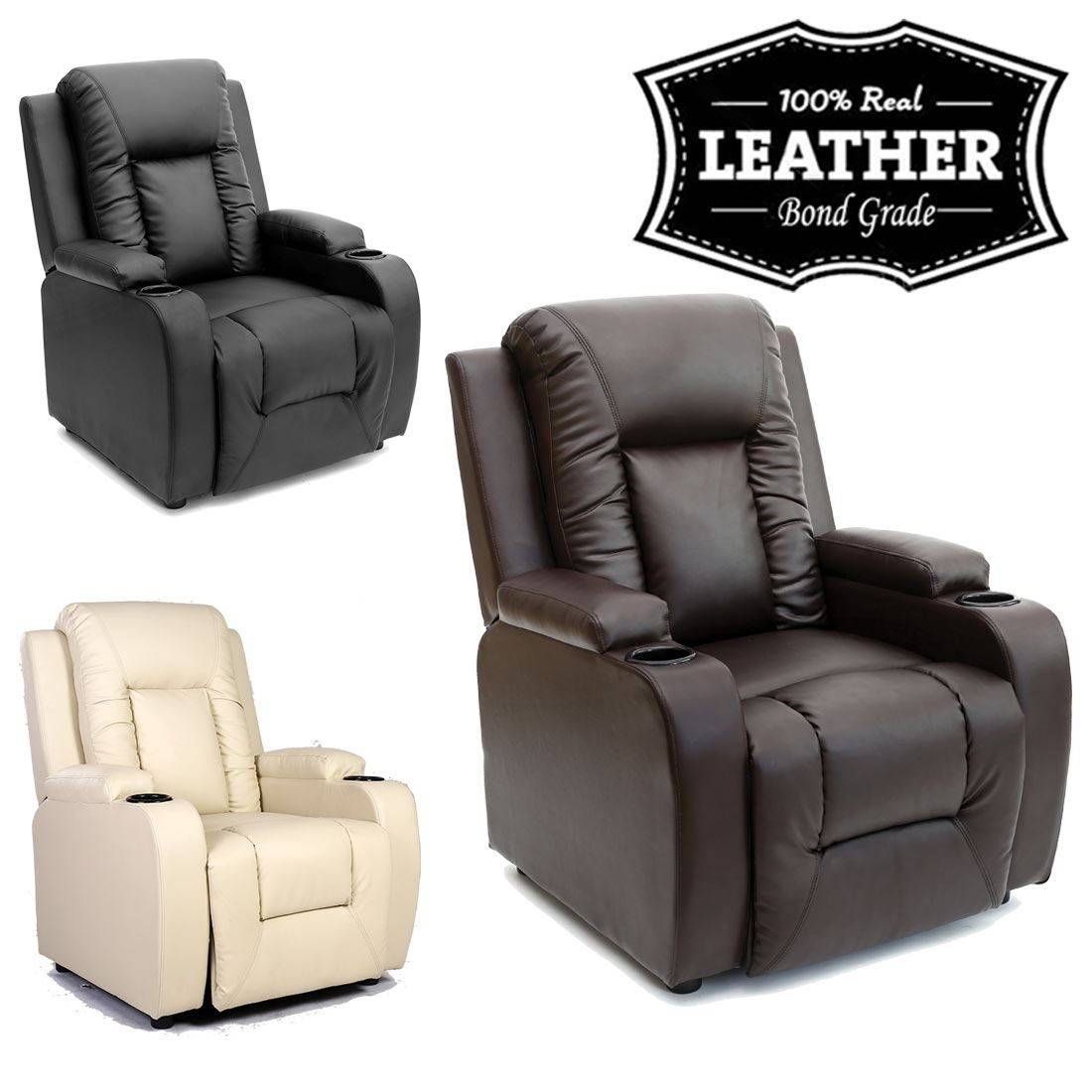 Oscar Leather Recliner W Drink Holders Armchair Sofa Chair throughout Sofa Chair Recliner (Image 20 of 30)