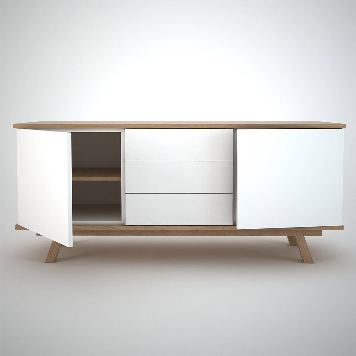 Ottawa Sideboard (2+3) White - Join Furniture with White Wooden Sideboards (Image 11 of 30)