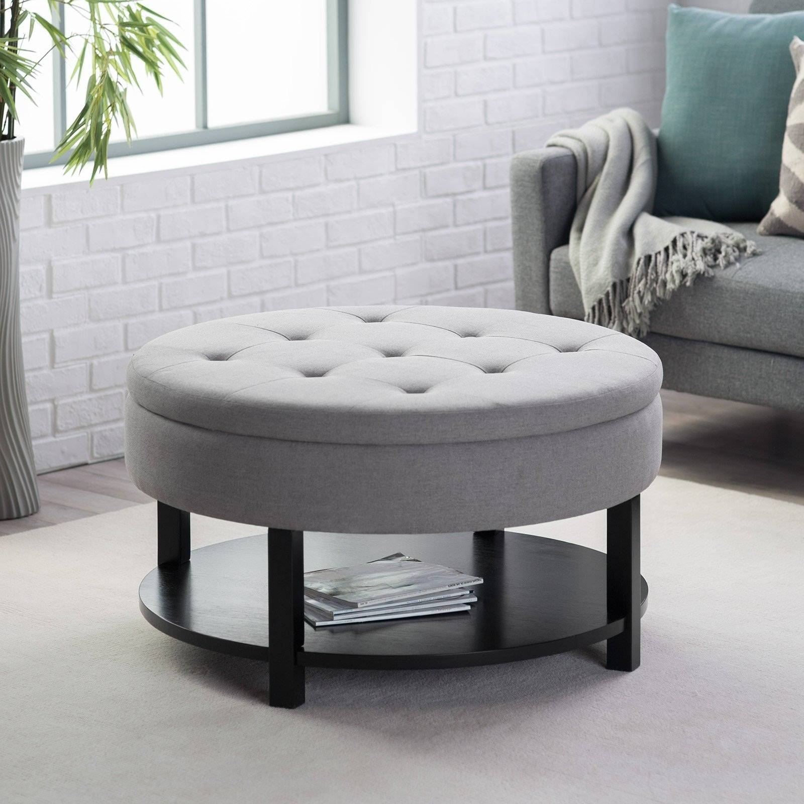 Ottoman Coffee Table Trays. Sofa Tray Table Vintage Black Wood throughout Round Upholstered Coffee Tables (Image 21 of 30)