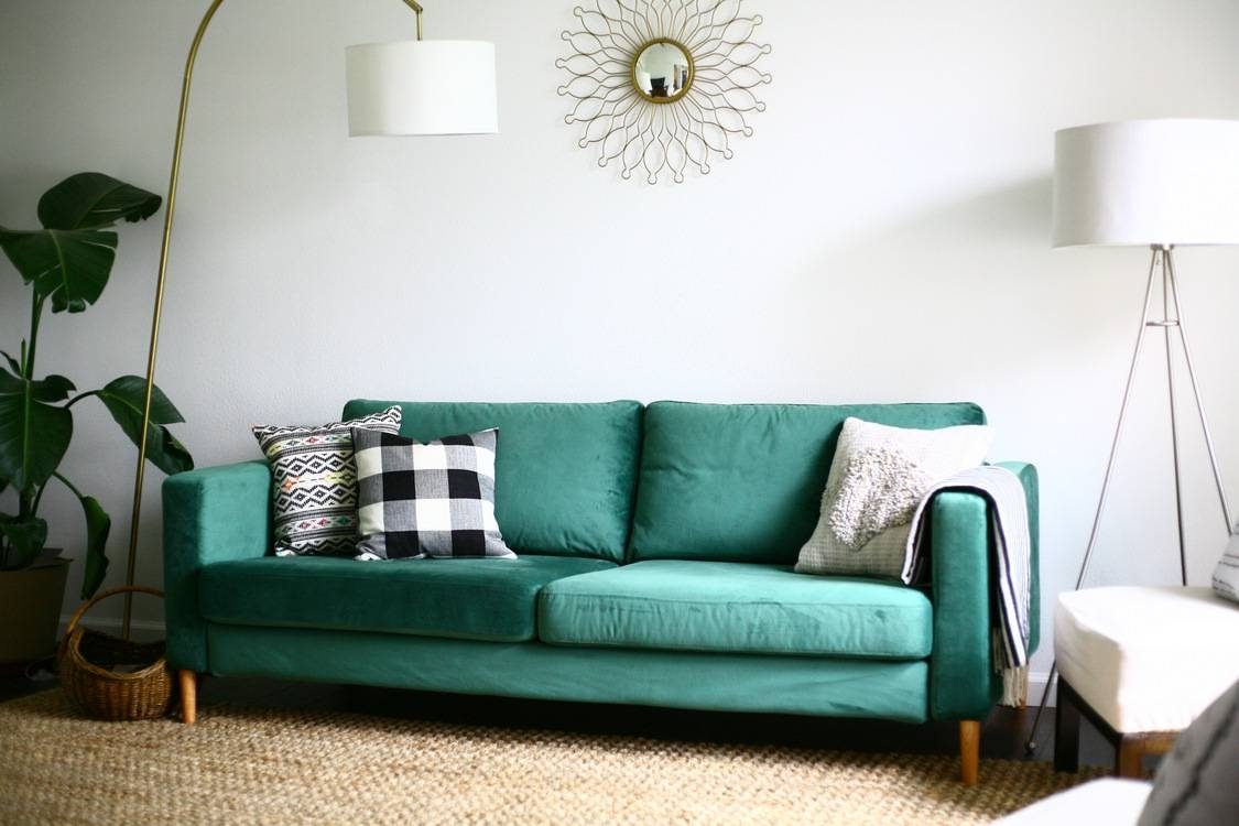 Our Statement Sofa! Comfortworks Green Velvet Ikea Sofa Cover in Turquoise Sofa Covers (Image 26 of 30)