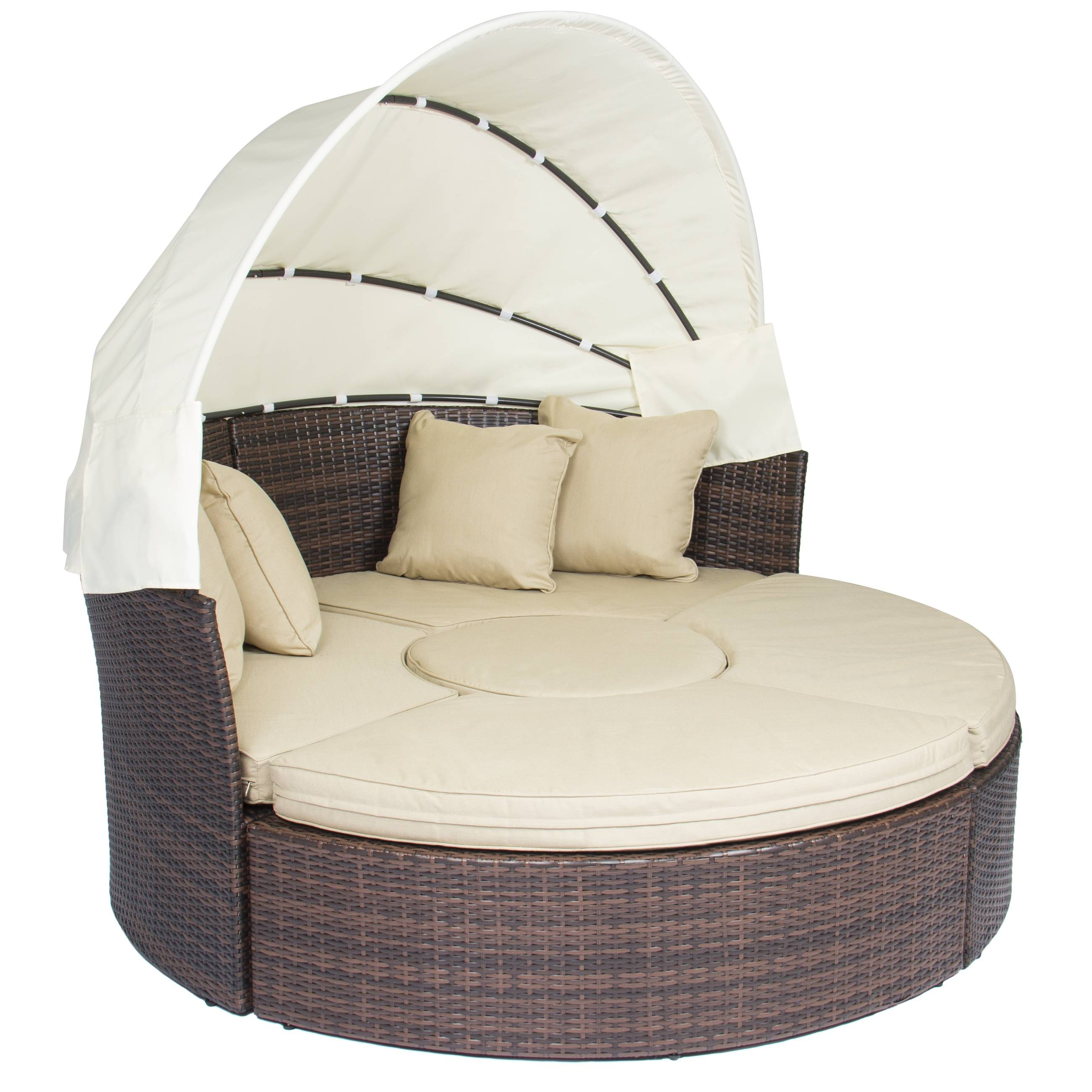 Outdoor Patio Sofa Furniture Round Retractable Canopy Daybed Brown Inside Big  Round Sofa Chairs (Image
