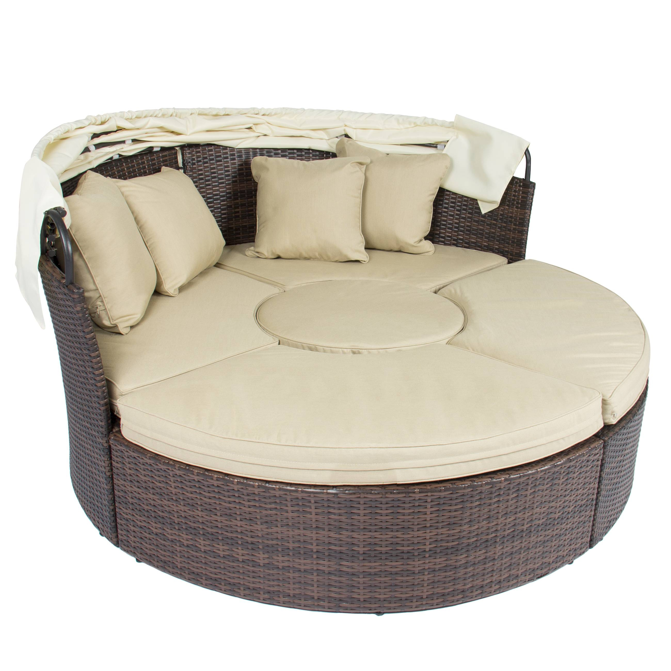 Outdoor Patio Sofa Furniture Round Retractable Canopy Daybed Brown throughout Circle Sofa Chairs (Image 18 of 30)