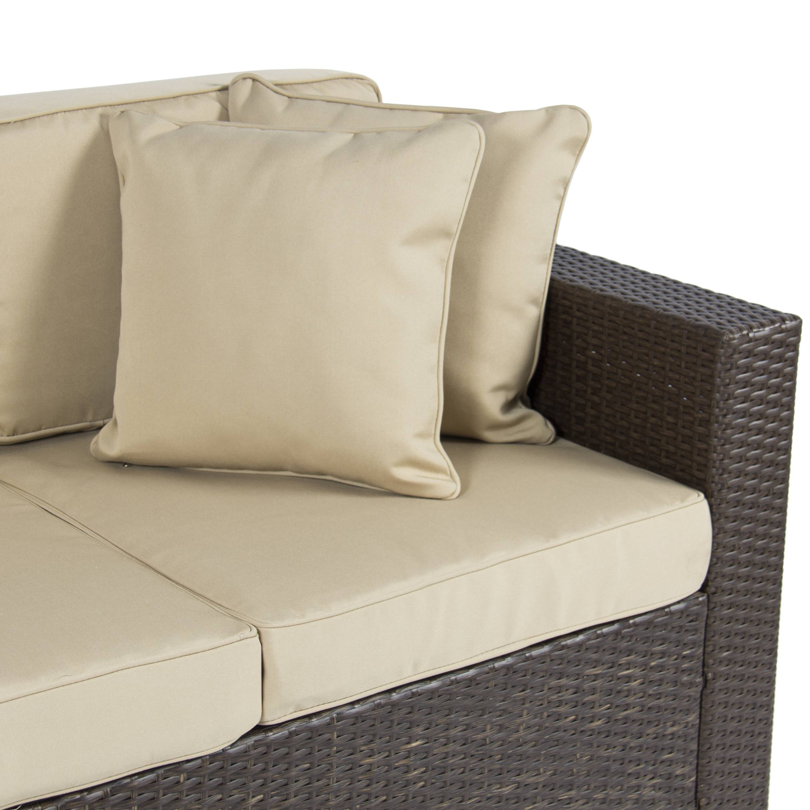 Outdoor Wicker Patio Furniture Sofa 3 Seater Luxury Comfort Brown intended for Comfortable Sofas and Chairs (Image 15 of 30)