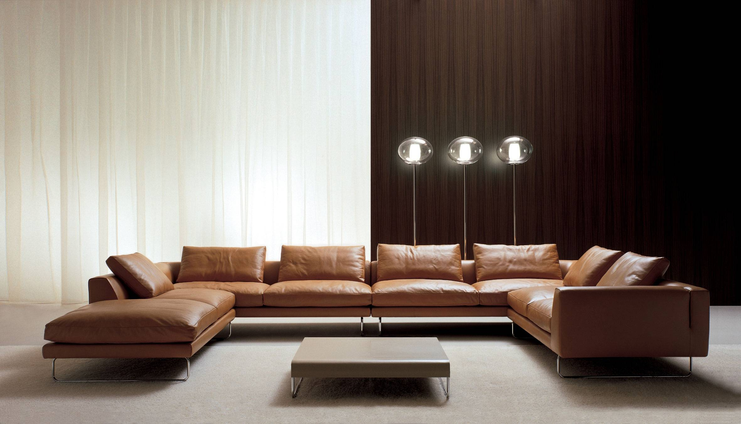 Outstanding Brown Leather U-Shaped Sectional Italian Sofa Design for U Shaped Leather Sectional Sofa (Image 20 of 25)