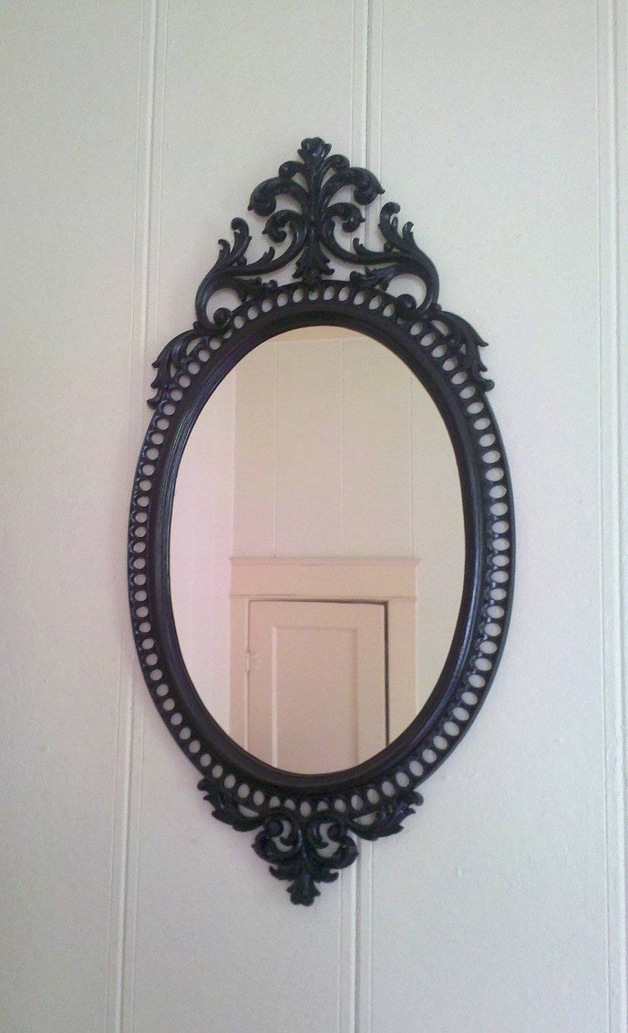 Oval Black Framed Mirror – Harpsounds.co pertaining to Gothic Wall Mirrors (Image 23 of 25)