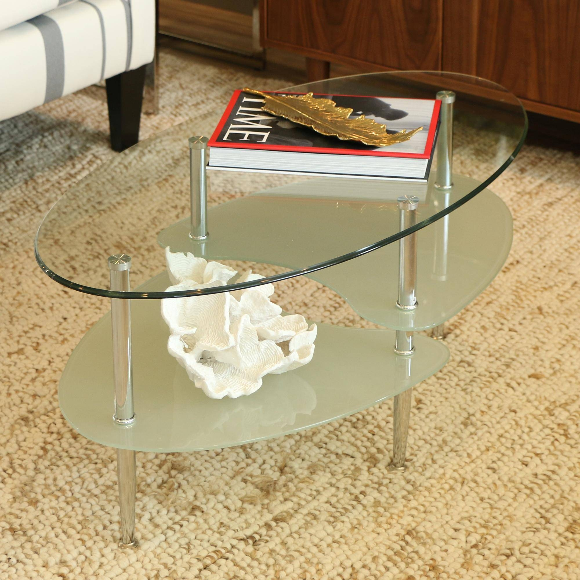 Oval Black Glass Coffee Table With 2 Glass Shelves | Coffee Tables pertaining to Oval Black Glass Coffee Tables (Image 23 of 30)