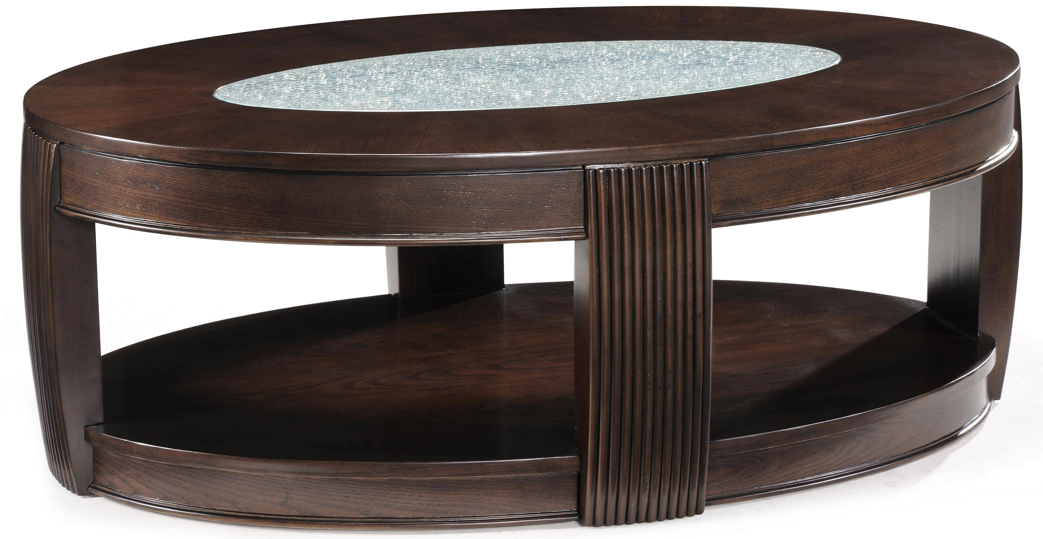 Oval Coffee Table W/ Glass Insetmagnussen Home Wolf And regarding Oval Glass And Wood Coffee Tables (Image 24 of 30)