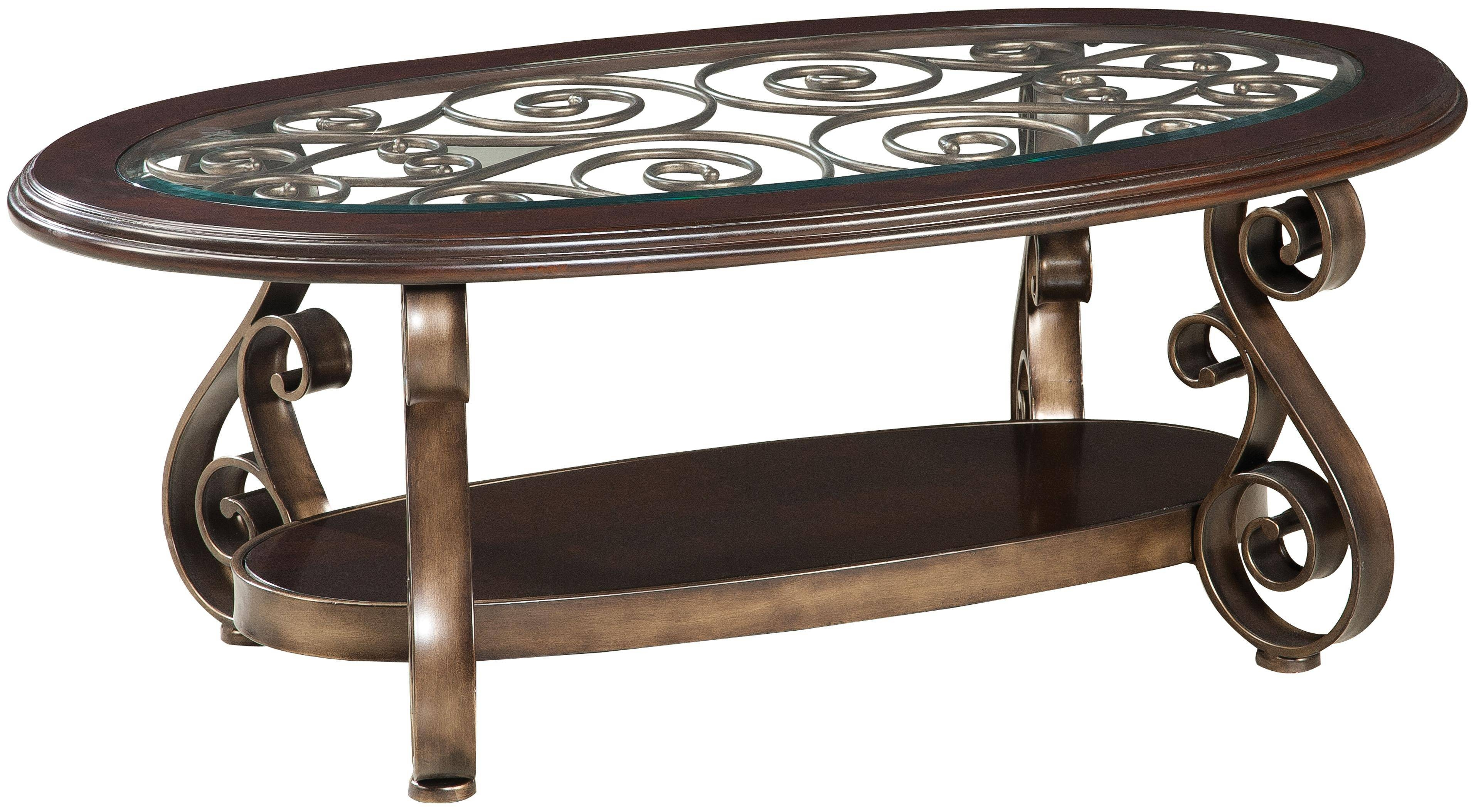 Oval Dark Brown Wood Carving Coffee Table With Glass Top And Shelf with regard to Oval Glass And Wood Coffee Tables (Image 25 of 30)