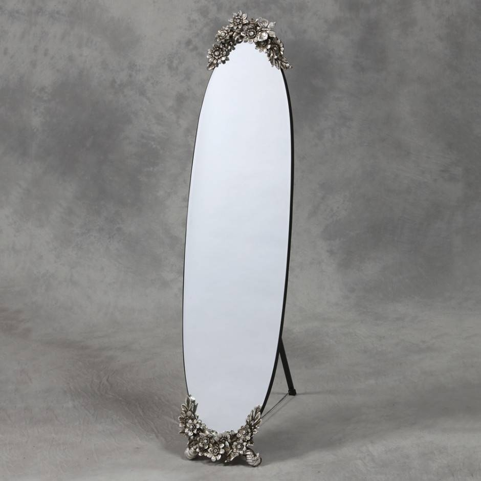 Oval Frameless Cheval Mirror With Butterfly Metallic Cresting Detail for Silver Cheval Mirrors (Image 20 of 25)