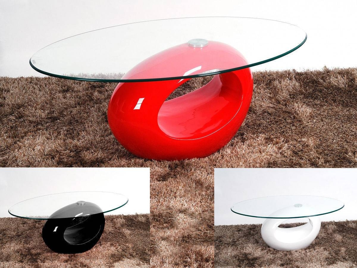 Oval Glass Coffee Table With Red High Gloss Base - Homegenies within Oval Gloss Coffee Tables (Image 24 of 30)