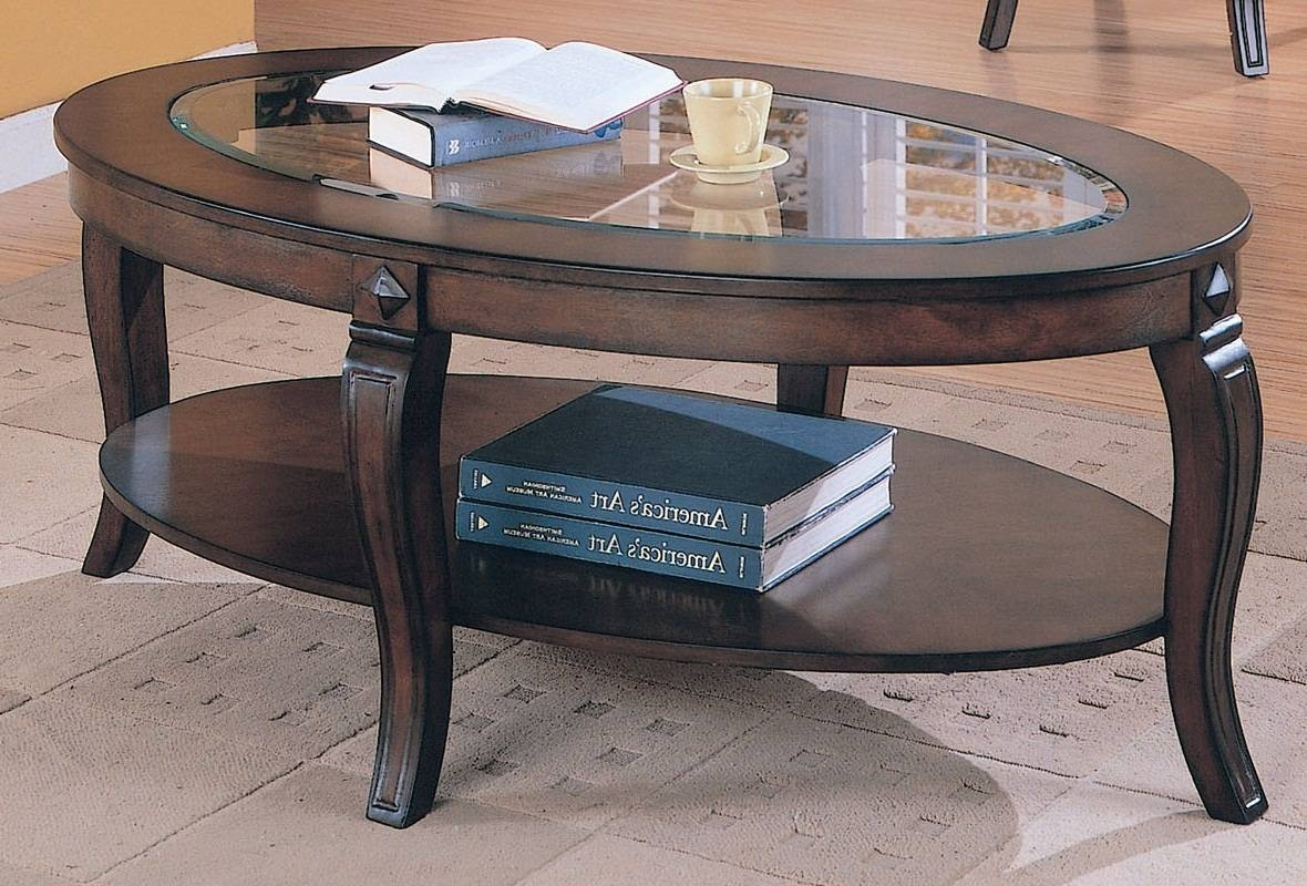 Oval Glass Top Coffee Tables Storage Space Under Table, Solid in Glass Top Storage Coffee Tables (Image 25 of 30)
