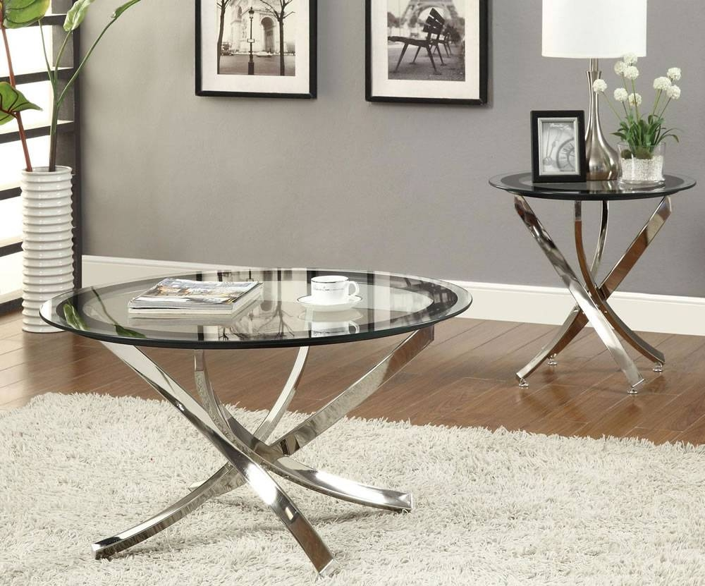Oval Glass Top Mirrored Coffee Table With Stainless Steel Cross within Small Mirrored Coffee Tables (Image 25 of 30)