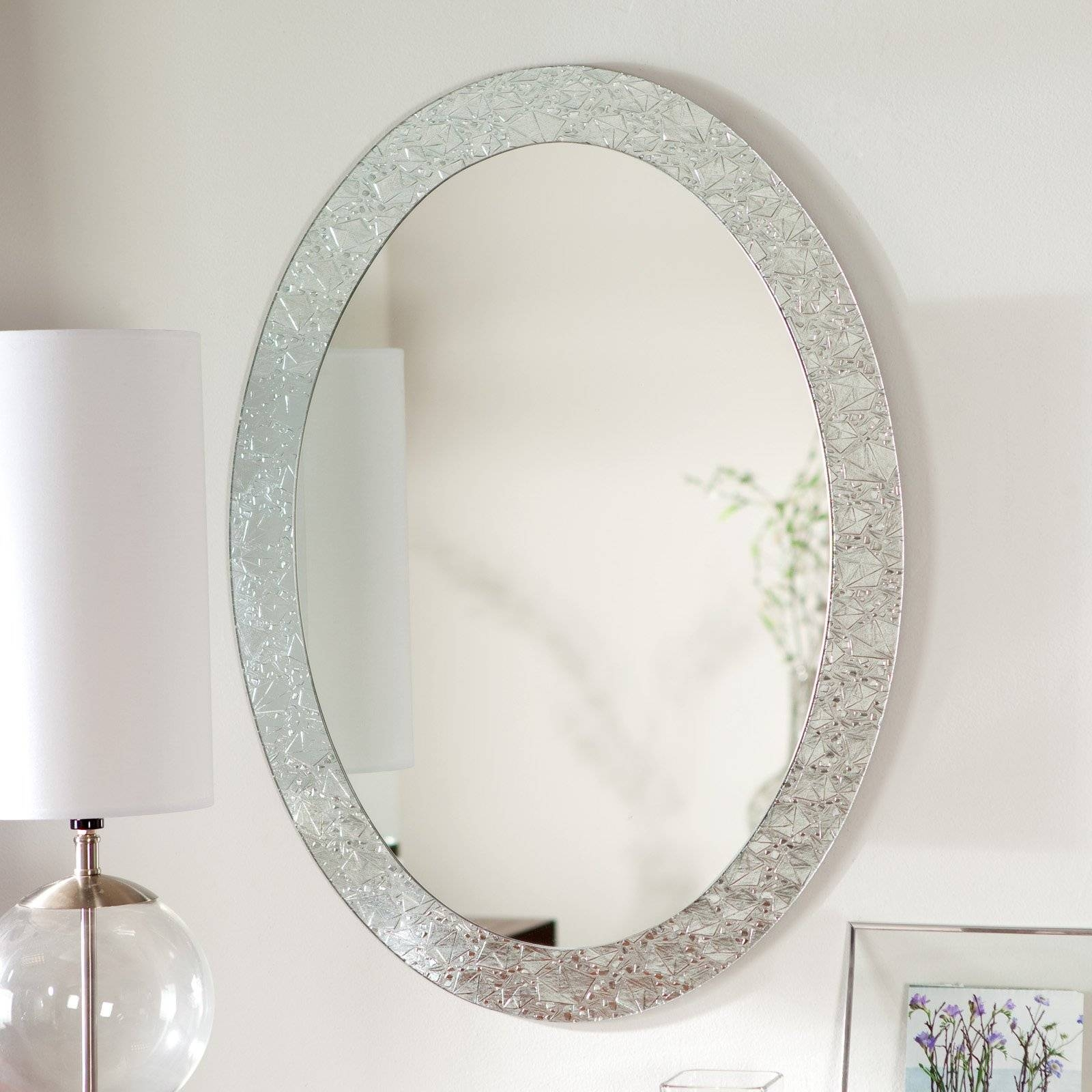 Oval Mirror With Gray Marble Frame Placed On The White Wall Of regarding White Decorative Mirrors (Image 21 of 25)