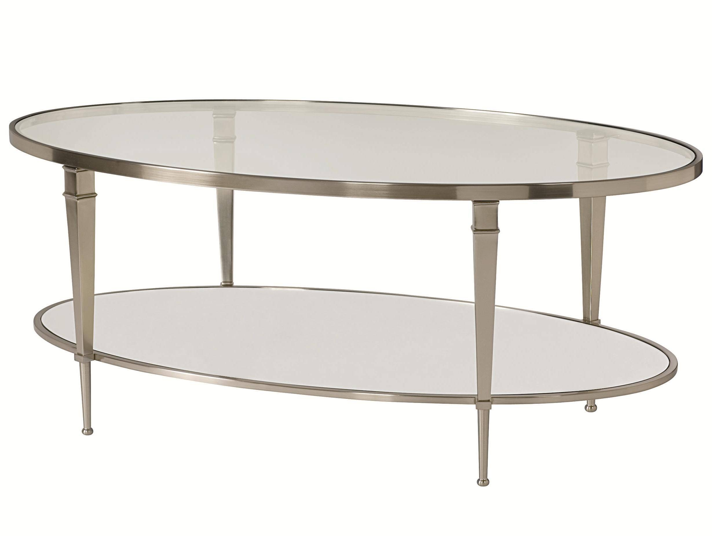 Oval Satin Nickel Antique Mirror Finish Cocktail Tablehammary With Regard To Antique Mirrored Coffee Tables (View 21 of 30)