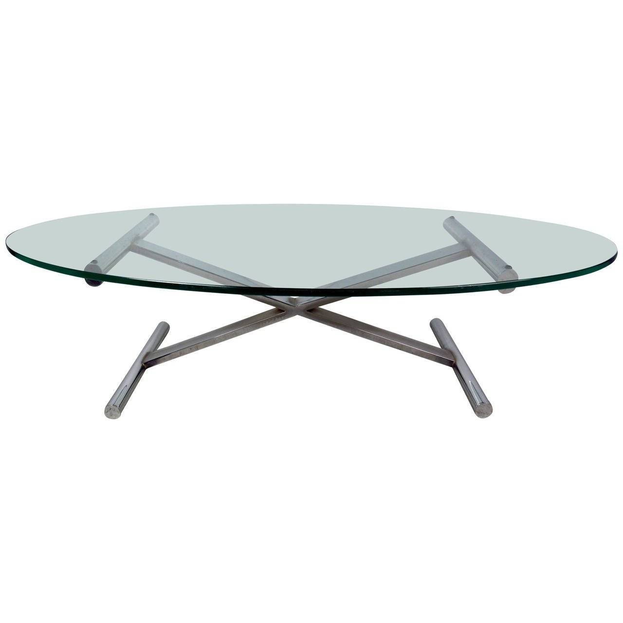 Oval Shaped Glass Top Coffee Table With Chrome Base For Sale At with Oval Shaped Glass Coffee Tables (Image 25 of 30)