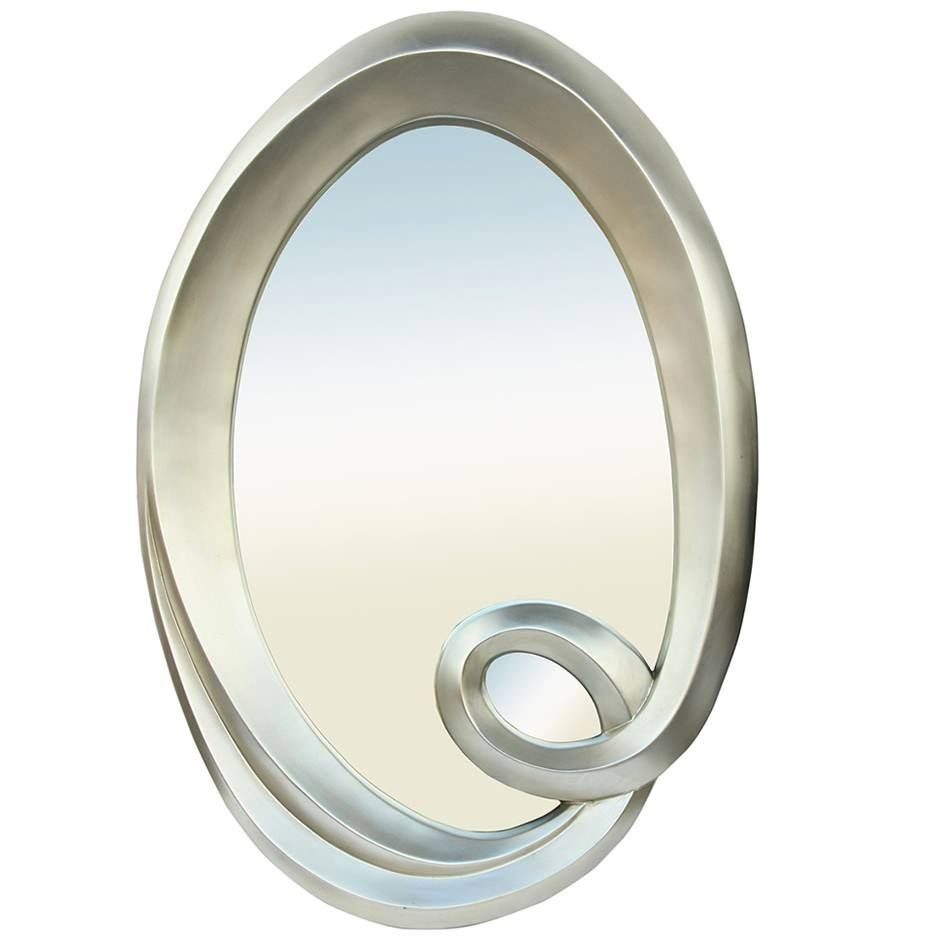 Oval Silver Swirl Champagne Mirror Small – Mirrors.ie intended for Silver Oval Mirrors (Image 16 of 25)