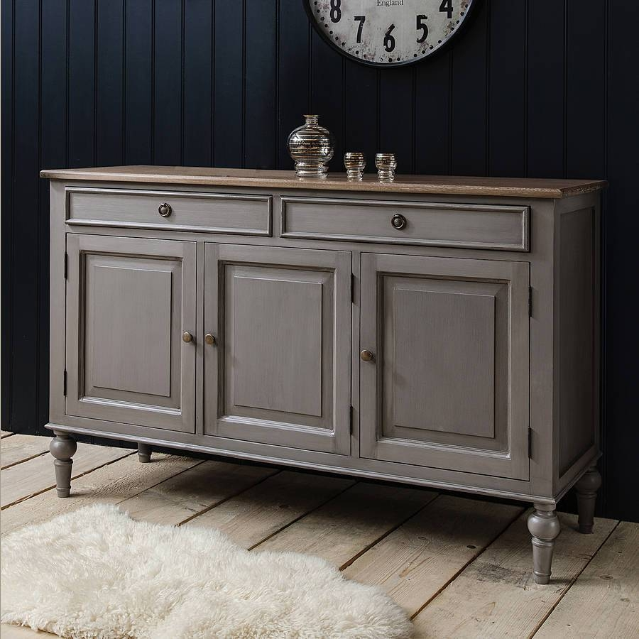 Painted Grey Sideboard With Wooden Topprimrose & Plum throughout Unusual Sideboards (Image 13 of 30)