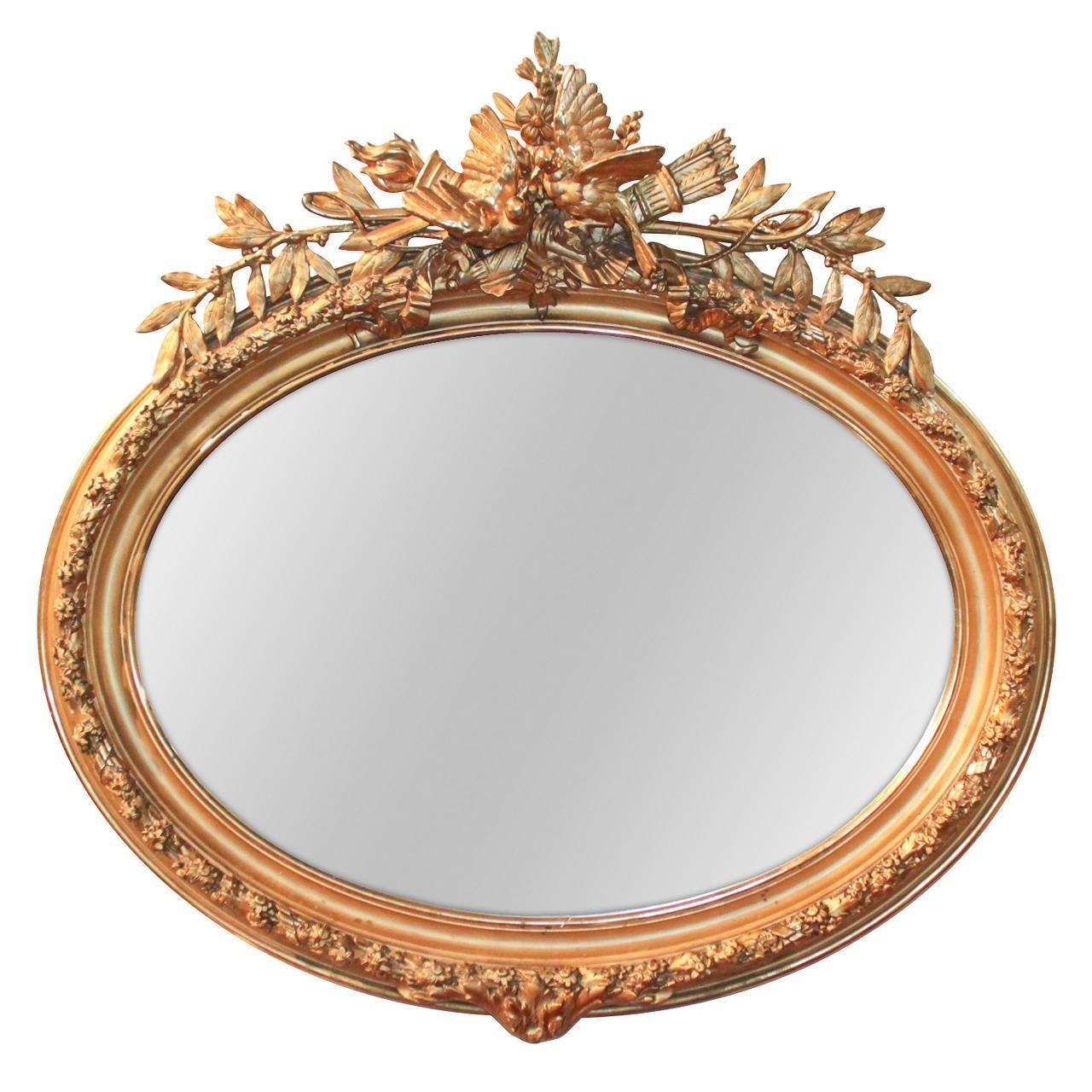 Pair Of 19Th Century French Louis Xvi Oval Gilt Mirrors With throughout Gilt Mirrors (Image 21 of 25)
