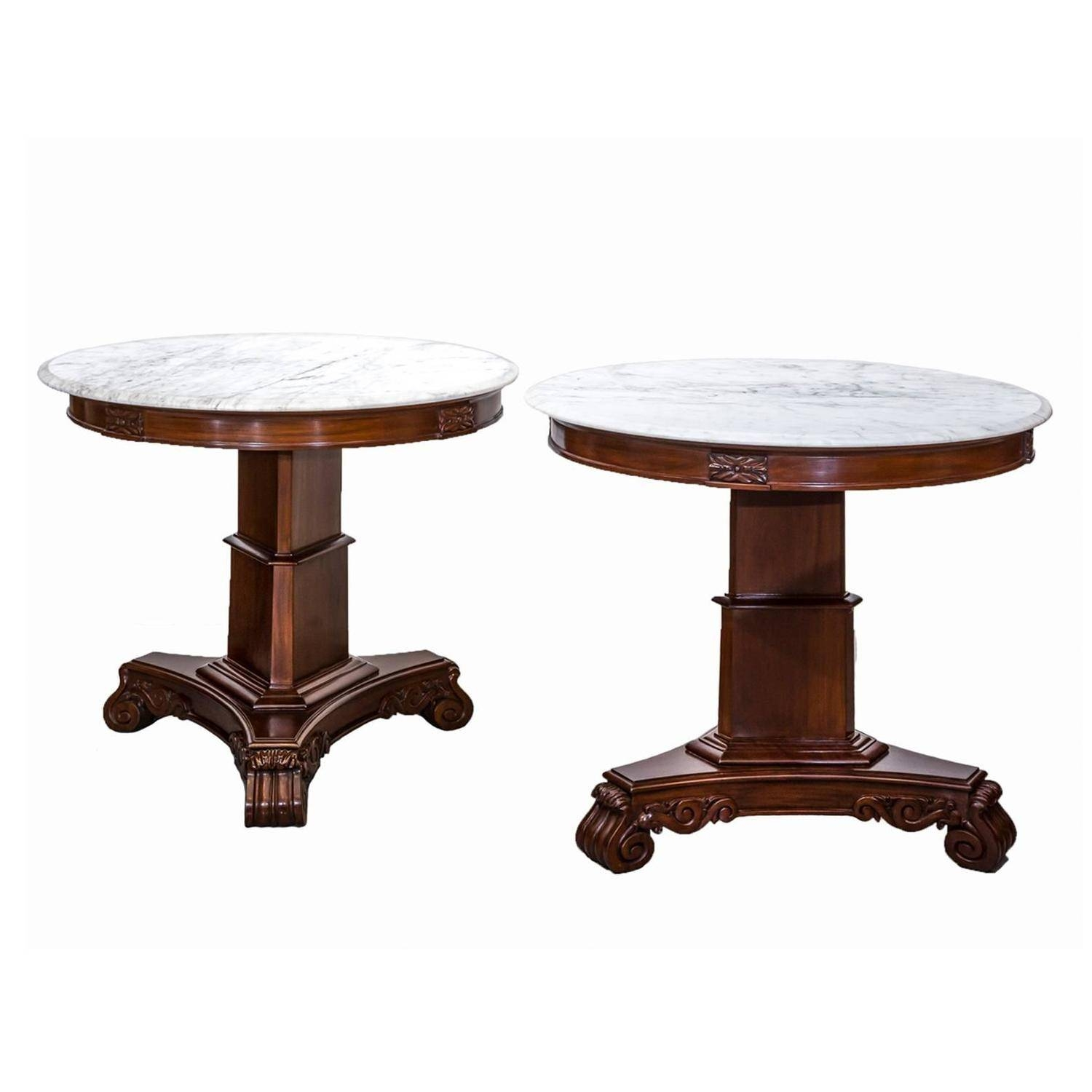 Pair Of Antique Anglo-Indian Or British Colonial Mahogany Side with Colonial Coffee Tables (Image 25 of 30)