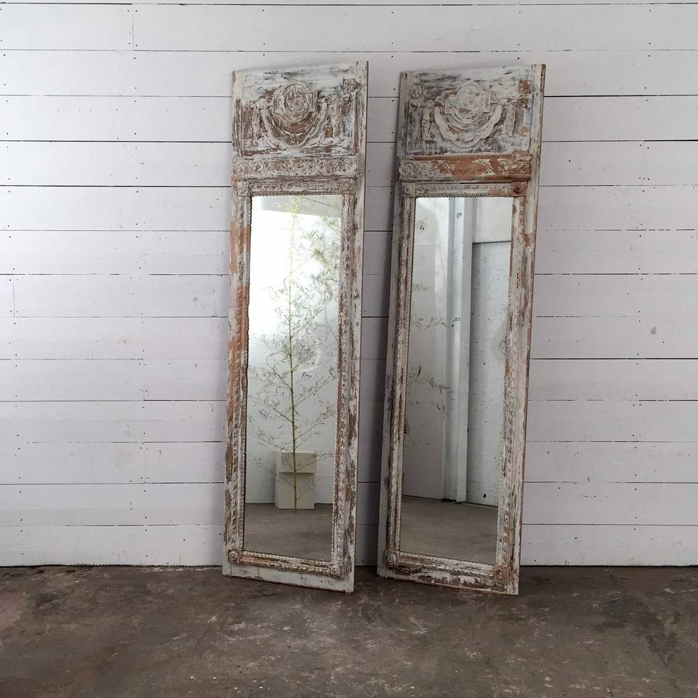 Pair Of Antique French Wood Trumeau Mirrors In Original Cream Paint - for Antique Cream Mirrors (Image 20 of 25)