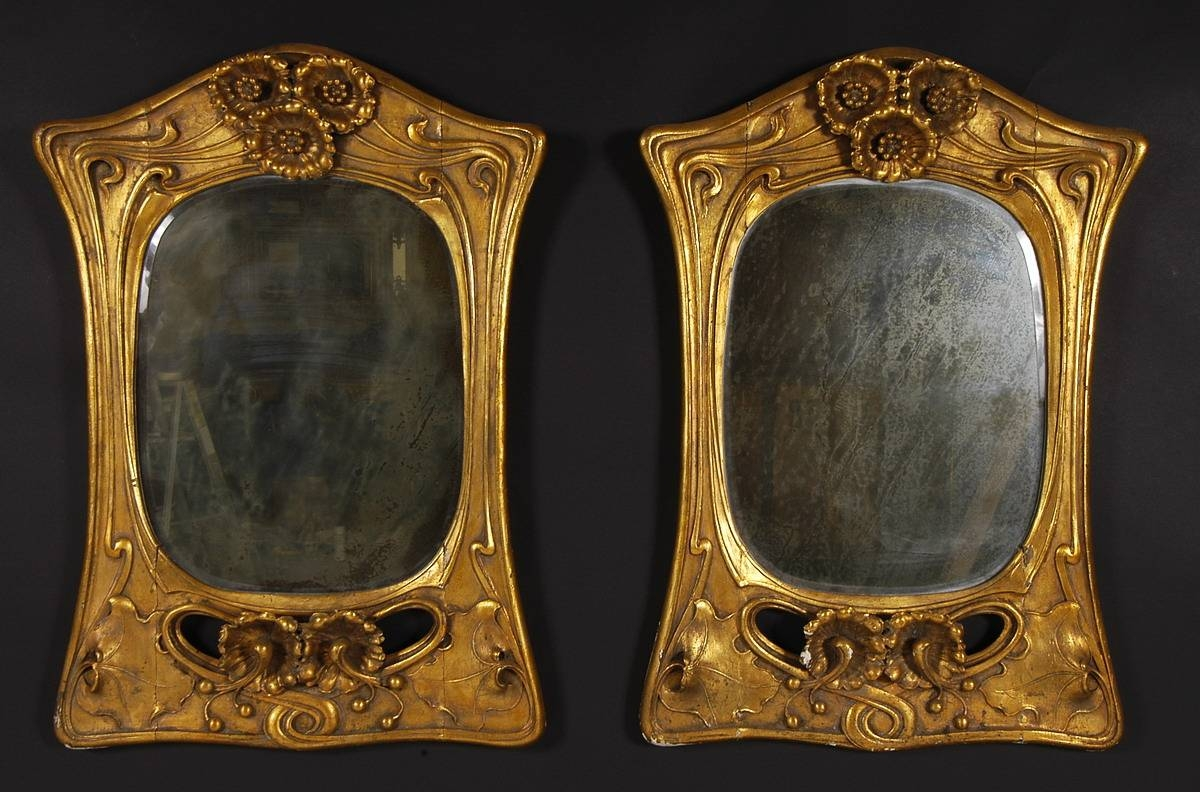 Pair Of Art Nouveau Period, Carved, Giltwood Mirrors for Art Nouveau Mirrors (Image 19 of 25)