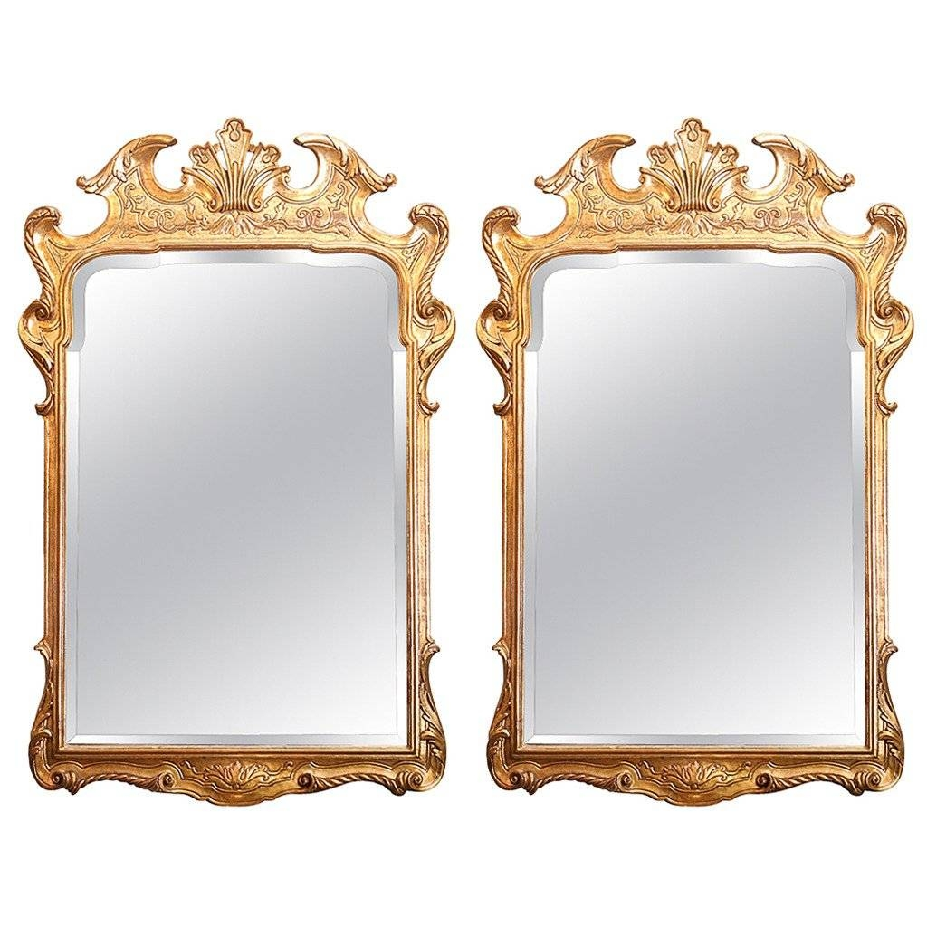 Pair Of English Gilt Mirrors With Low Key Carving On The Frame For in Gilt Framed Mirrors (Image 20 of 25)