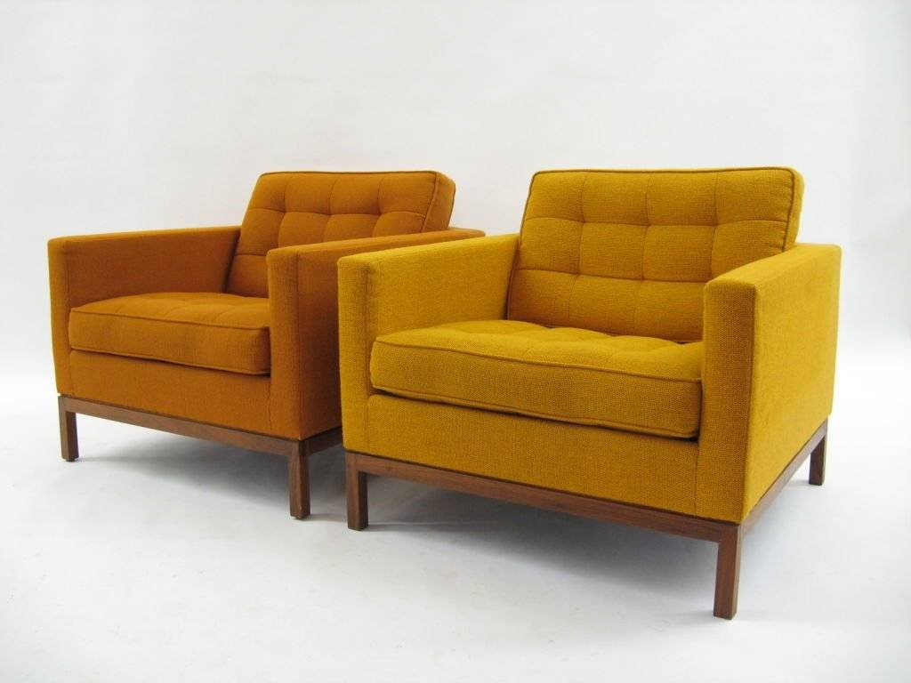 Pair Of Florence Knoll Lounge Chairs With Uncommon Wood Bases At inside Florence Knoll Wood Legs Sofas (Image 17 of 25)