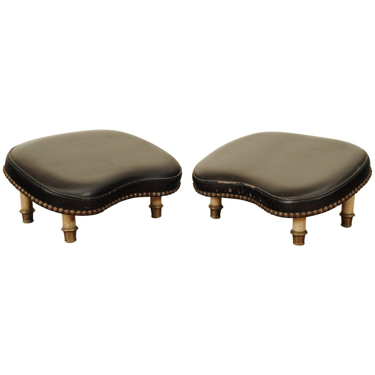 Pair Of French Brass And Black Leather Footstools, Mid-20Th in Leather Footstools (Image 21 of 30)