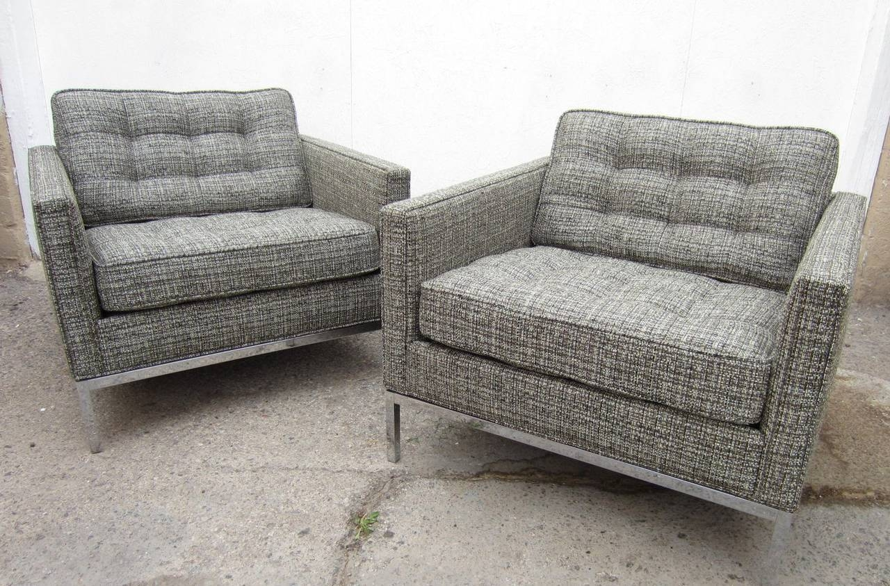 Pair Of Mid-Century Modern Florence Knoll Club Chairs For Sale At in Florence Knoll Wood Legs Sofas (Image 18 of 25)