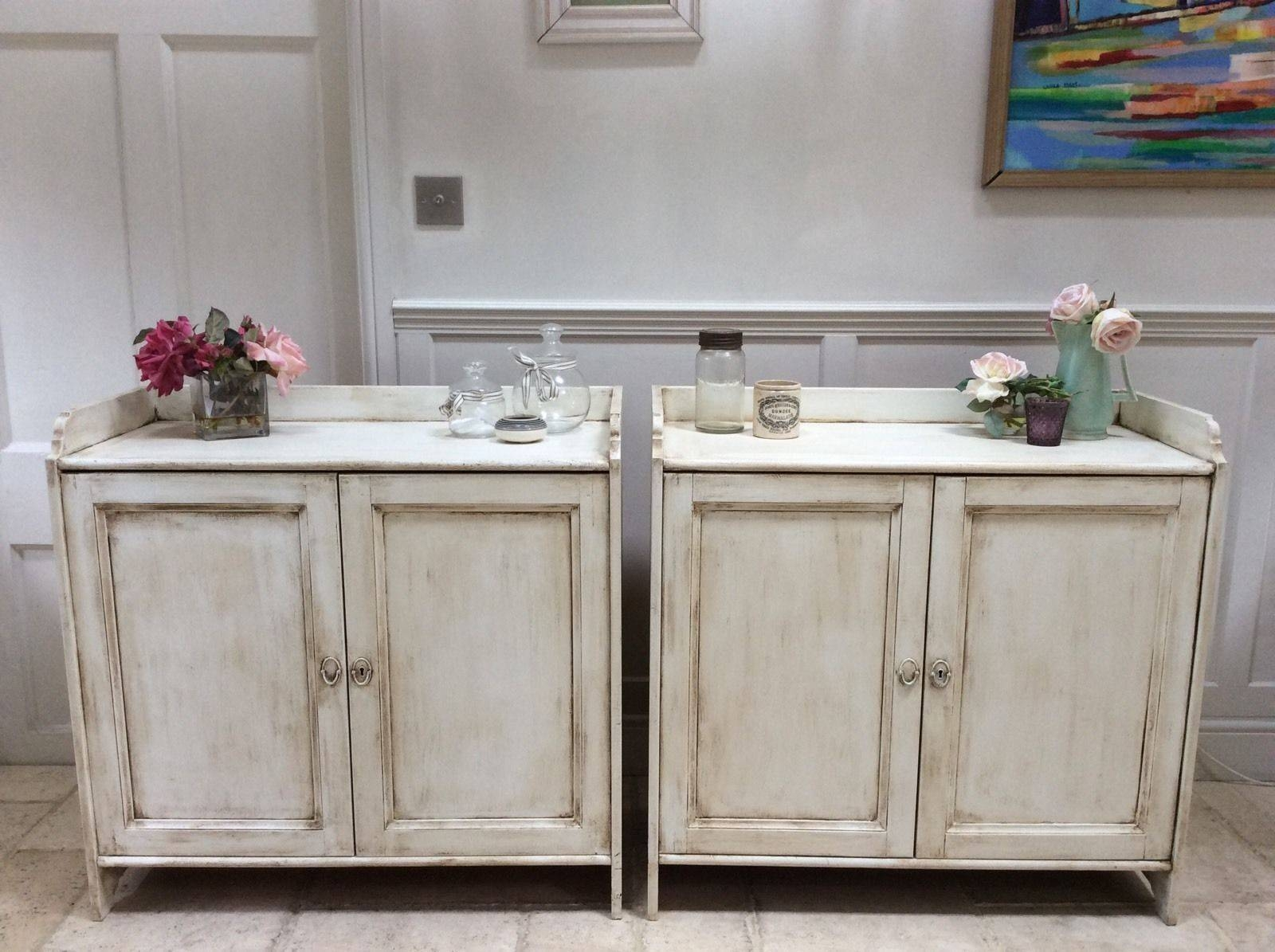 Pair Of Pine Painted Cream Sideboard Freestanding Kitchen Unit in Free Standing Kitchen Sideboards (Image 24 of 30)