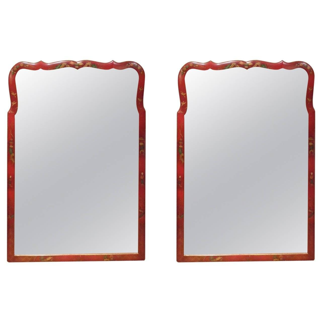Pair Of Red Lacquer Chinoiserie Mirrors At 1Stdibs in Red Mirrors (Image 18 of 25)