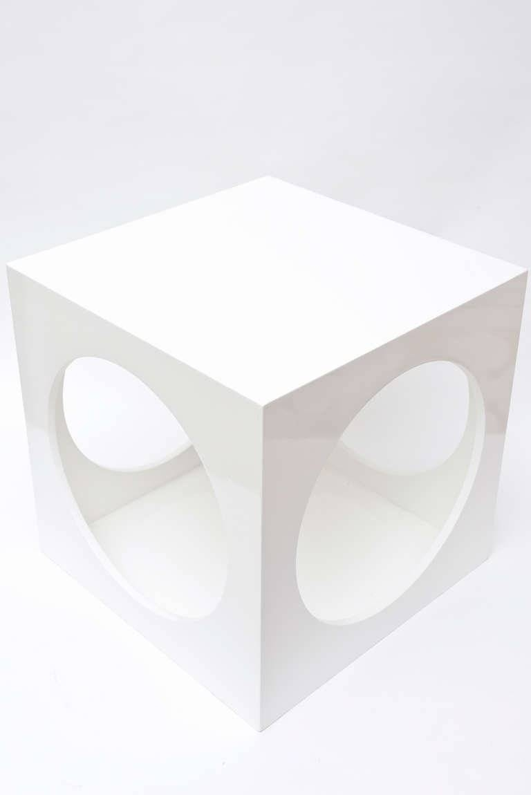 Pair Of Sculptural White Lacquered Cube Square Side Tables At 1Stdibs pertaining to White Cube Coffee Tables (Image 26 of 30)