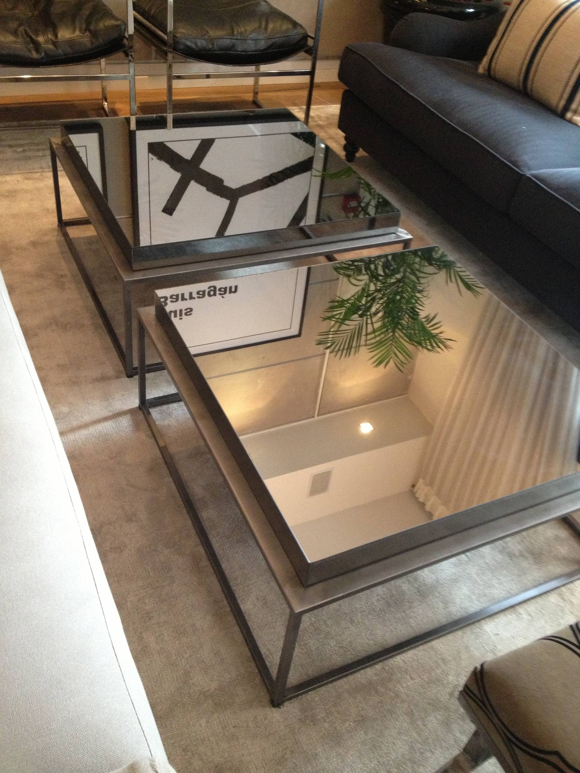 Pair Of Square Industrial Mirrored Coffee Table With Glass Top And with Metal Coffee Tables With Glass Top (Image 26 of 31)