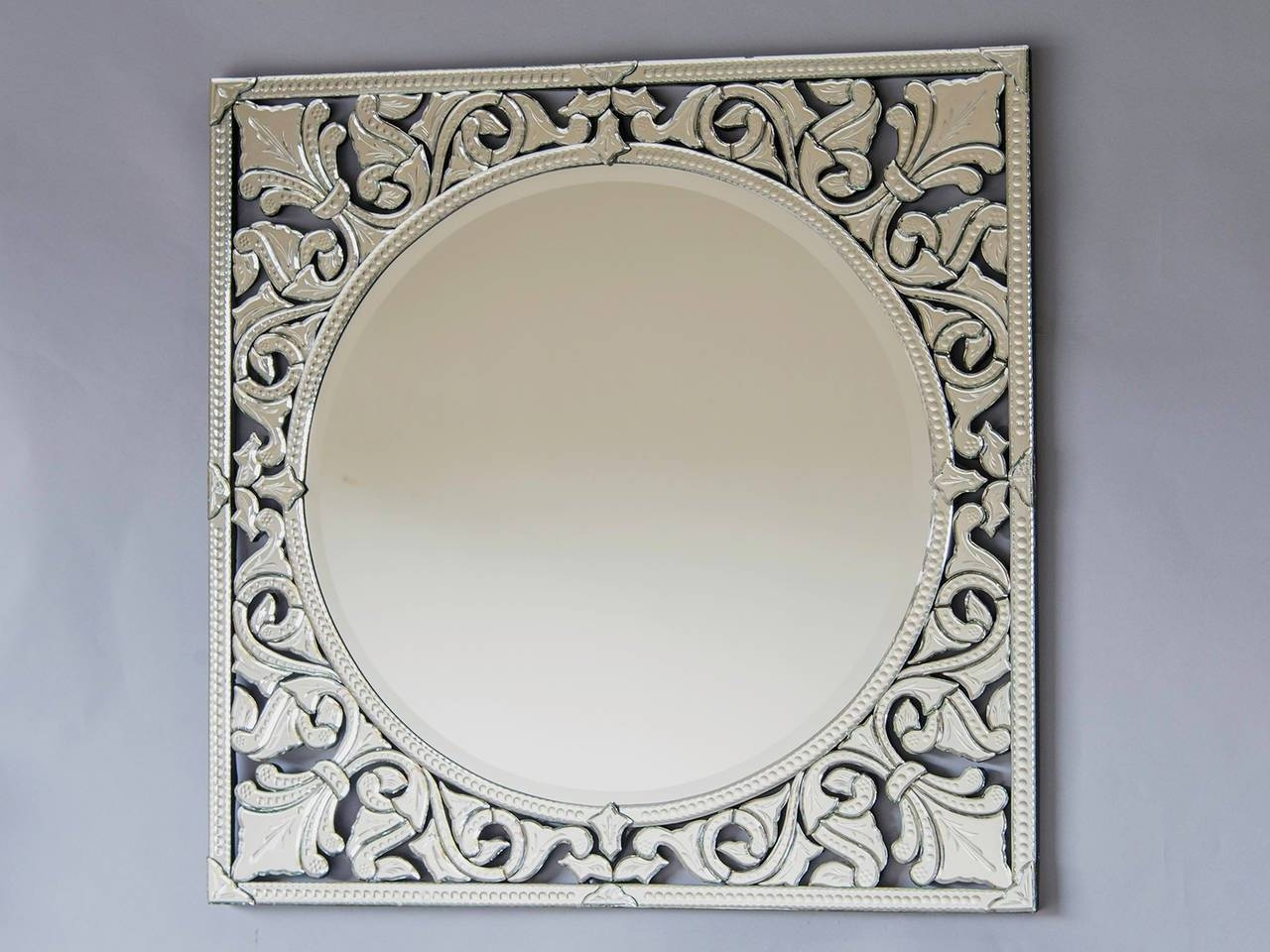 Pair Of Square Venetian Mirrors, Italy At 1Stdibs for Square Venetian Mirrors (Image 19 of 25)
