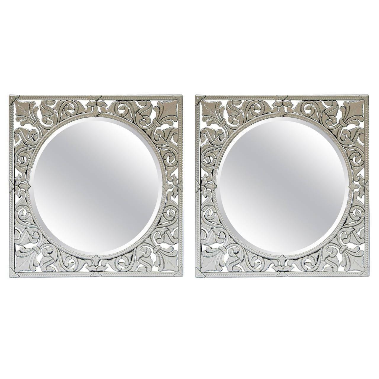 Pair Of Square Venetian Mirrors, Italy At 1Stdibs throughout Square Venetian Mirrors (Image 20 of 25)