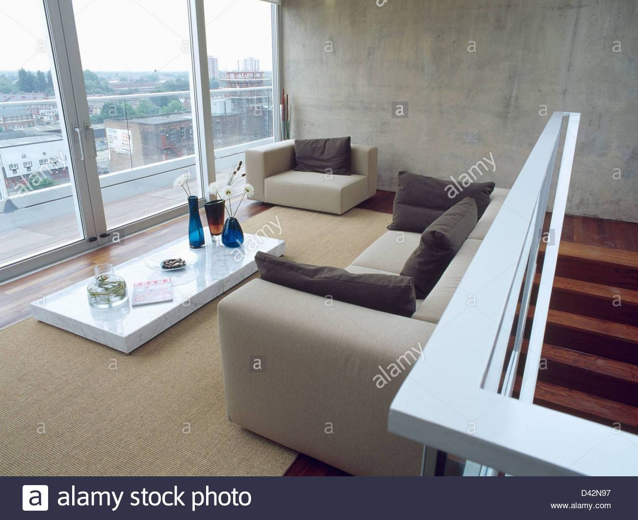 Pale Gray Sofas And Low White Coffee Table In Loft Conversion Pertaining To Large Low White Coffee Tables (View 21 of 30)