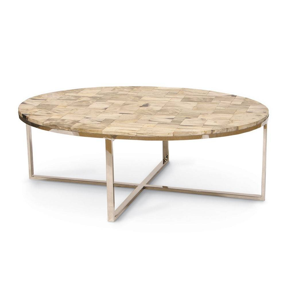 Palecek Mosaic Oval Petrified Wood Coffee Table Pk-7028-79 for Mother of Pearl Coffee Tables (Image 30 of 30)